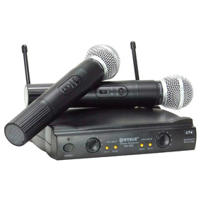 Kit Microfone Duplo S/ Fio Uhf Fm Igreja Eventos Karaokê T87