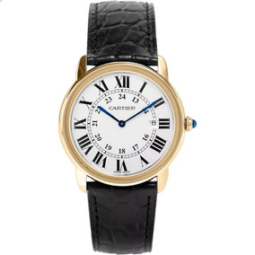 Cartier Ronde Piel Negra Oro 18kt Números Romanos Diego Vez
