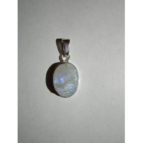 Dije De Piedra Luna Azul Natural En Bruto - Plata .925