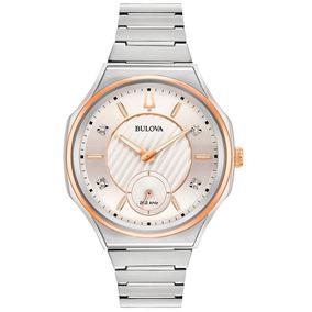 Nuevo !! Reloj Bulova Curv Con 4 Diamantes 98p182