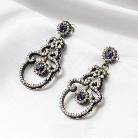 4116fcd0b1b Brinco Dior Inspired Bola Turca Zirconia Safira Pratas Vip - Joias e ...