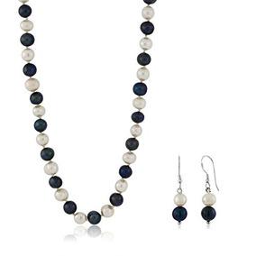 18 Pulgadas Azul Y Blanco 7-8mm Conjunto De Collar De Perlas