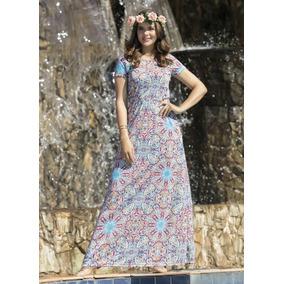 Vestido Longo Estampado Moda Evangélica Frete Gratis