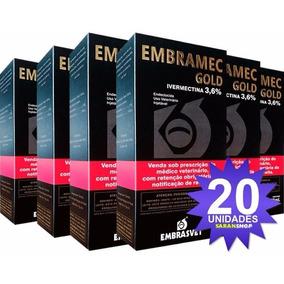 20x Embramec Gold 3,6 500ml Ivermectina Longa Ação Embrasvet