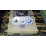 Super Nintendo Con Un Control Y Un Juego