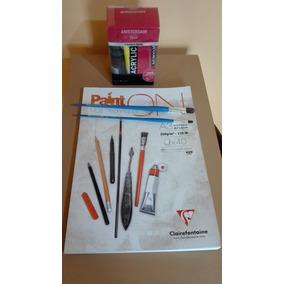 Kit De Arte: Pinturas Acrílicas.block A-3 Multiuso. Pinceles