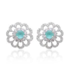 Brinco Feminino Prata 925 Cristal Paraiba Delicado Verde