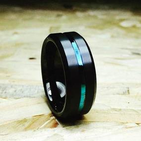 Aliança De Tungstênio Preta Azul Escovada Chanfrada Hórus