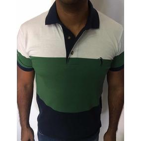 1f76755e3e Camisa Polo Masculina Aleatory Listrada Original Branco Verd