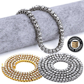 Colar Hip Hop Iced Diamantes Ostentação Top Luxo Rap Funk 5b4977e0c8