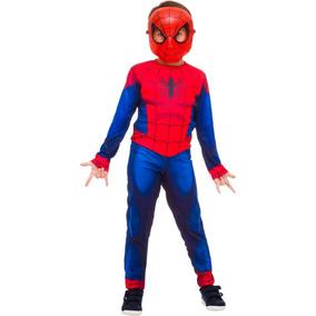 Fantasia Longa Homem Aranha Spider Man Infantil C/ Mascara