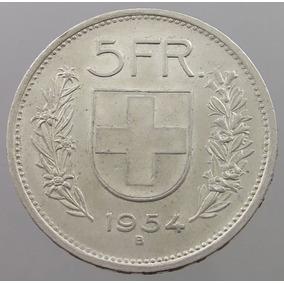 Moneda 5 Francos Suizos 1954 15 Grs Km#40 En Capsula