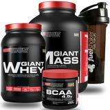 Kit Giant Mass 3kg + Whey 900g + Bcaa Powder + Fuel Shaker