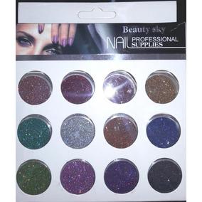 Kit Glitter 12 Cores - Holografico Ultrafino - Para Unhas