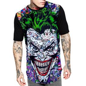 Camiseta Camisa Longline Estampa Full Coringa Unissex Ref 89 85e5fd60421