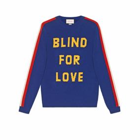 Suéter Gucci blind For Love En Color Azul Con Tigre db15fa46c89