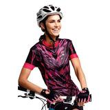 Camisa Ciclista Cliclismo Feminina Kanxa Rosa Preto