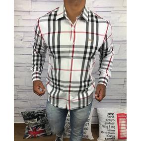 Camisa Social Burberry Xadrez Branca Frete Grátis Lançamento 3a64a72d16af4