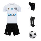 Uniforme Infantil Santos + Caneleira + Meião + Bola