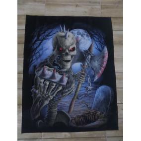 Bandeira Decorativa Skull Punk / Caveira Com Machado