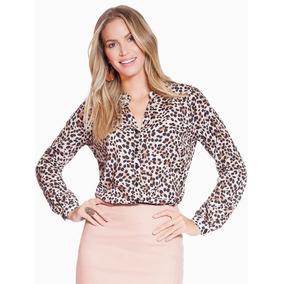 Camisa Animal Print Leopardo Com Decote V Principessa Damian