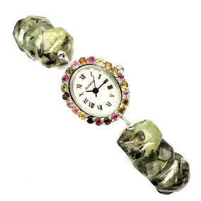 Reloj Impresionante 22cm Gemas Turmalina Plata 925 Ringking