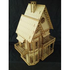 5 Casas Casinhas Boneca Mdf - Modelo Unico Ploy 2 Casinhas