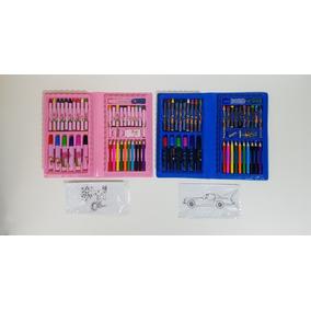 Kit 2 Maleta Escolar De Pintura Infantil Lápis Canetinhas