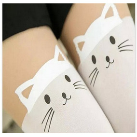 Pantimedia Medias Over Knee Japonsa Corazon Gato Kawaii Sexy