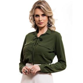 Camisa Feminina Verde Militar Com Amarração Principessa Oria