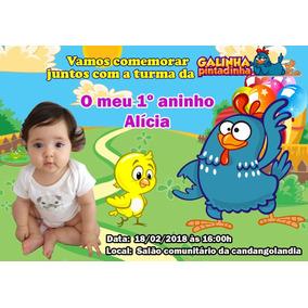 60 Convites Galinha Pintadinha + 100 Almo Chaveiro