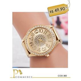 Relógio Feminino Dourado Com Strass Pedras