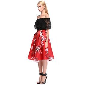 Falda Roja Flores Capana Midi Nueva Entrega Inmediata
