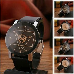Relógio Triângulo 3d Electroics Men & Woman Pulseira Couro