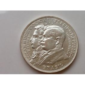 Mp81= Moeda Prata 500 2000 Réis Centenario Limpa
