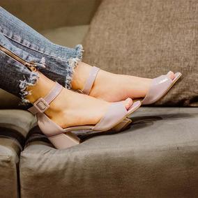 Sandalia Feminina Taynara Salto Baixo Bloco Lilac Conforto