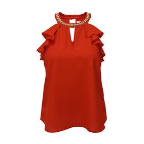 Blusa Sin Manga Collar Volante Dama Mujer Rojo 3066 Zoara