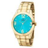 5046d40a7bd Relógio Champion Feminino Dourado Prova 50 M Barato Ch24268f