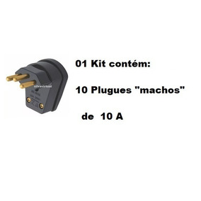 Plug Macho 10 Amperes 3 Pinos Kit C/ 10 Pçs Tomada Elétrica