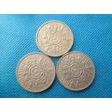 3 Moedas Inglaterra 2 Shillings 1965   1966 E 1967 Niquel 8a80ae5cf2