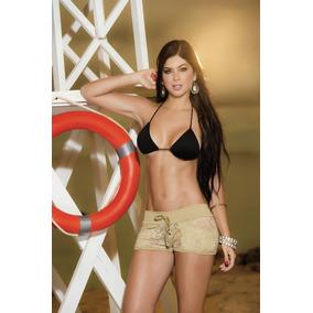 Shorts Playa O Alberca Con Encaje Taupe Resort 2019 - 7736
