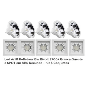 Led Ar111 Refletora 13w Bivolt 2700k + Spot Em Abs-kit 5conj