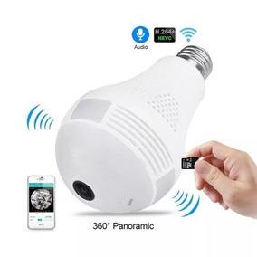 Câmera Ip Segurança Lâmpada 360 Graus Panorâmica Espiã Wifi