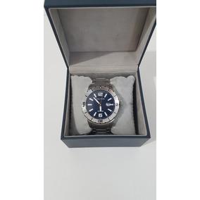 Relógio Náutica Original Azul Marinho Pulseira De Aço
