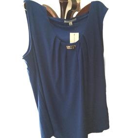 Blusa Sin Magas Color Azul, Talla Xl