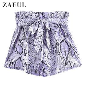 Zaful Shorts De Piel Estampada Con Volantes