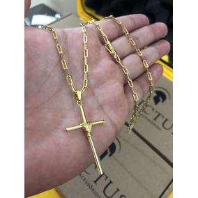 Cordão Cartier 3mm E 70cm + Cruz Palito Banhados A Ouro 18k