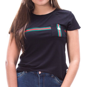 Blusinha Camiseta Gucci Feminina Pingente Listra Blogueira