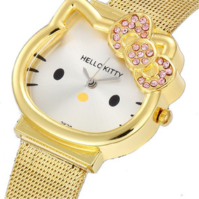 Relógio Adolescente/criança Hello Kitty Inoxidável Dourado