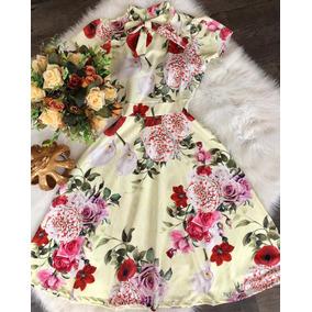 Vestido Midi Gola Rolê Gravatinha Laço Moda Evangélica